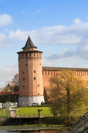 Historical Buildings Of Marinkin Tower Of Kremlin Autumn In Kolomna, Moscow Region. Close Up.