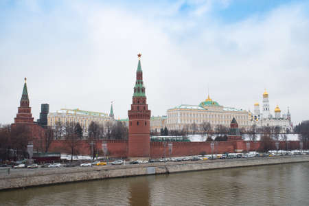 Moscow, Russia. Moscow Kremlin On Coast Of Moskva River Under Dramatic Sky Winter.