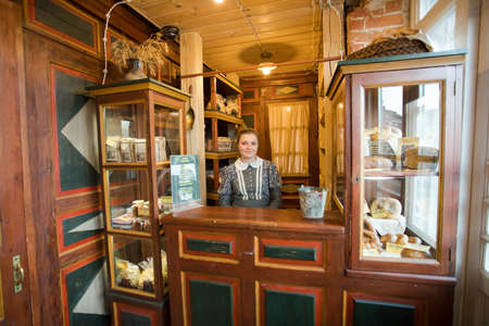 Kolomna, Russia - October 22, 2017: Kolomna Kalach. Seller Woman In Museum Shop Kalach, Resurgent Old Urban Kalach Trade.