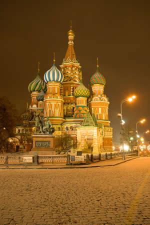 St. Basil's Cathedral On Red Rquare Evening At Winter In Moscow, Russia. 版權商用圖片