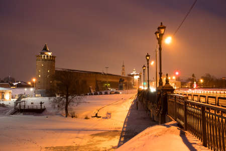 Beautiful View Landmark: Marinkin Tower Of Kremlin With Bridge On Sky With Clouds At Winter Evening In Kolomna, Moscow Region. 版權商用圖片