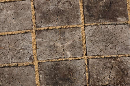 Close Up Wood Sidewalk With Sand Top View. Natural Wooden Textural Background.