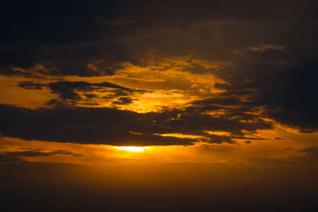 Beautiful Scenic View On Sunset Under Dramatic Sky In Summer Close Up.