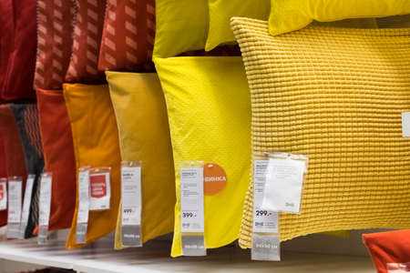 Moscow, Russia - February 10, 2018: Interior Design Of Variety Pillows Display On Shelf In Shop IKEA.