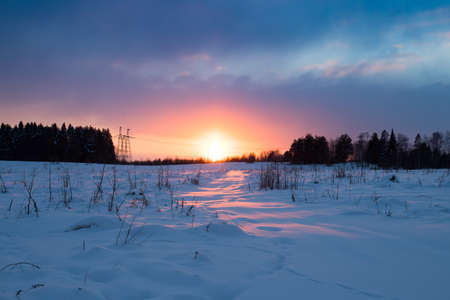 Colorful Landscape Of Sunset In Winter With Dramatic Sky In Violet And Pink Colors.