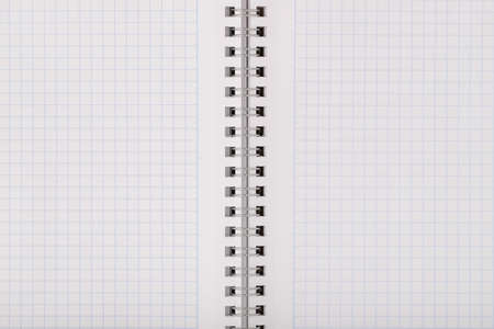 Empty Clean Notebook In Grid Sheet Close Up. Texture Background.