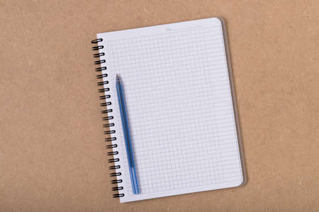 Blank Grid Notebook In Spiral With Pen On Wooden Board Background Top View.
