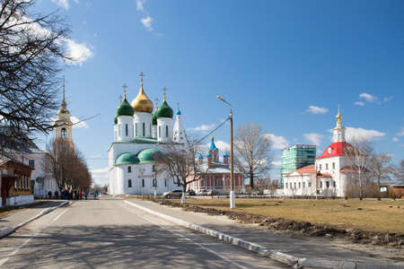 Kolomna, Russia. Beautiful View Landscape Of Orthodox Churchs On Kolomna Kremlin In Sunny Day Under Blue Sky On Spring. 版權商用圖片