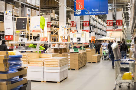 Moscow, Russia - March 25, 2018: Interior Of Large Ikea Storehouse With Wide Range Of Products In Moscow. IKEA Is World's Largest Furniture Retailer.