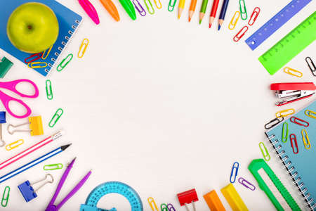 Different School Or Office Stationery On White Background Of Table With Copyspace Top View. Stok Fotoğraf
