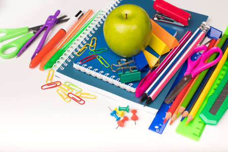 Different School Or Office Stationery On White Table Copyspace. Stok Fotoğraf - 131657980