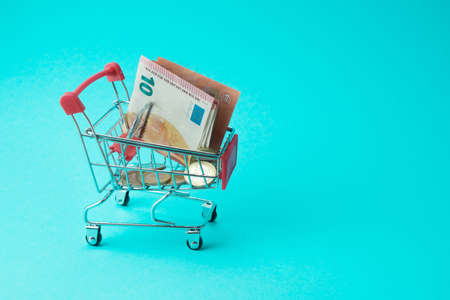 a shopping cart with euro banknotes and coins in it stands on a blue background. Business. Purchases. cash savings. Place for text.