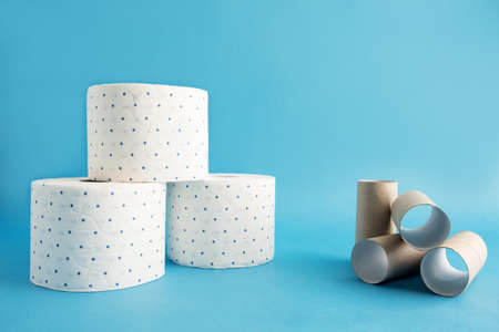 Several rolls of white toilet paper in a blue speck and empty rollers, bushes next to it. Blue background. Horizontal orientation. Place for text