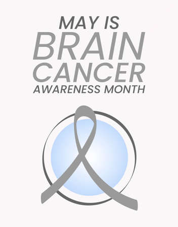 Brain cancer awareness month concept. Banner with text and gray ribbon. Vector illustration. Vecteurs