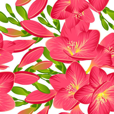 Seamless background with blooming red freesia in vector