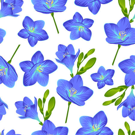 Vector pattern with blooming freesias and green buds