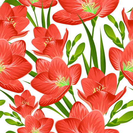 Seamless background with red freesia Vectores