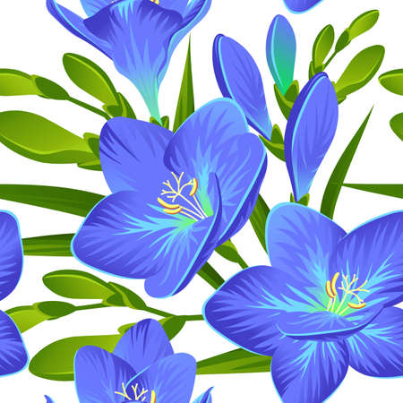 Seamless background with blooming blue freesia in vector Illusztráció