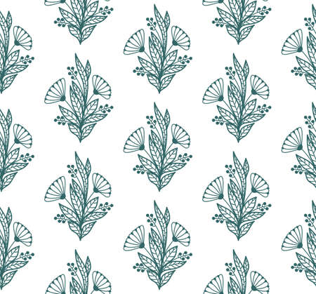 SEAMLESS PATTERN WITH PLANT ELEMENTS ON A WHITE BACKGROUND