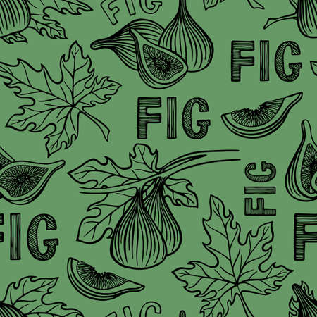 SEAMLESS PATTERN WITH FIGS AND LEAVES IN VECTOR
