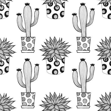 SEAMLESS PATTERN WITH CACTUSES AND SUCCULENTS IN VECTOR