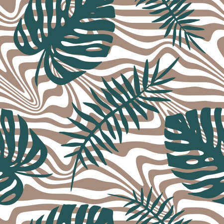 SEAMLESS BACKGROUND WITH STREAKS AND TROPICAL LEAVES IN VECTOR Иллюстрация
