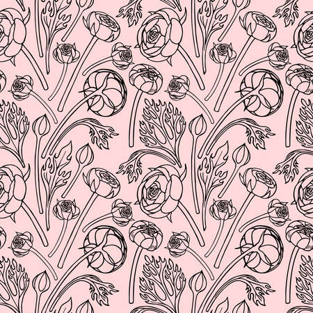 SEAMLESS PATTERN WITH RANUNCULUS FLOWERS AND BUDS IN THE VECTOR