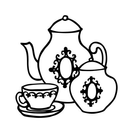 TEA SET ON A WHITE BACKGROUND IN VECTOR Vettoriali