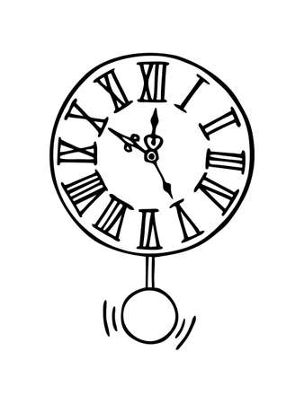 WALL CLOCK ON A WHITE BACKGROUND IN VECTOR Stock Illustratie