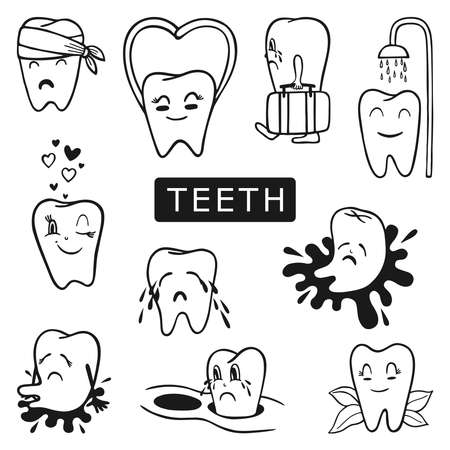 A LARGE SET OF PAINTED SICK AND HEALTHY TEETH