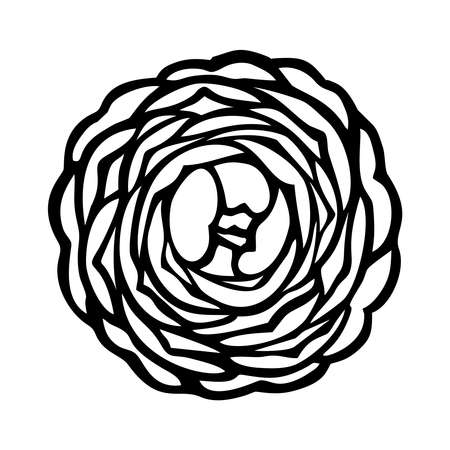 LUSH CAMELLIA FLOWER ON A WHITE BACKGROUND IN VECTOR