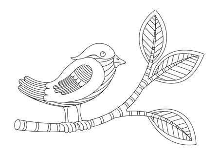 COLORING BOOK WITH A BIRD ON A BRANCH ON A WHITE BACKGROUND IN VECTOR