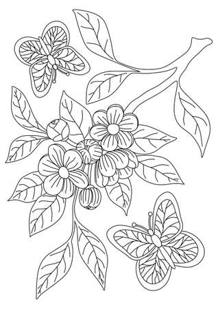 COLORING BOOK WITH CHERRY BLOSSOMS AND BUTTERFLIES ON A WHITE BACKGROUND