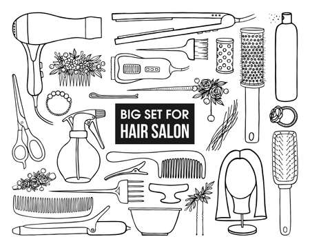 A LARGE SET OF DRAWN TOOLS AND ACCESSORIES FOR HAIRDRESSING IN VECTOR