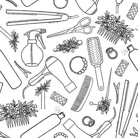 Seamless pattern with barber tools. Vectores