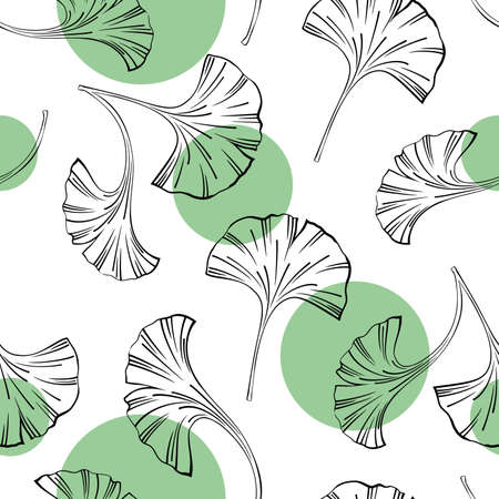 Vector seamless background with Ginkgo biloba leaves