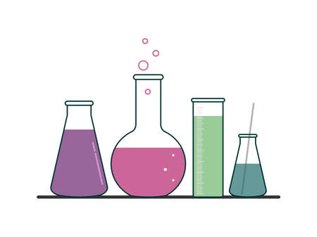 FLAT DRAWING OF LABORATORY FLASKS IN A VECTOR
