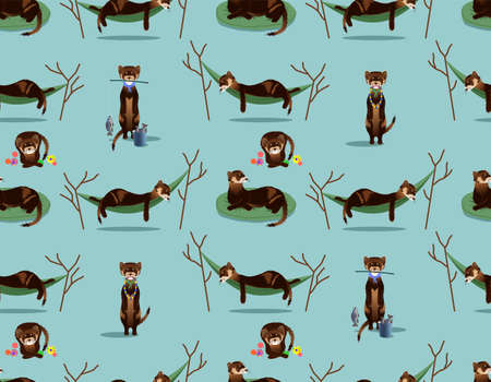 SEAMLESS PATTERN WITH BROWN FERRETS IN VECTOR