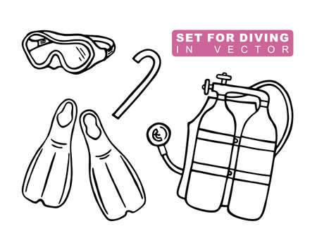 SET OF ATTRIBUTES FOR SCUBA DIVING   VECTOR