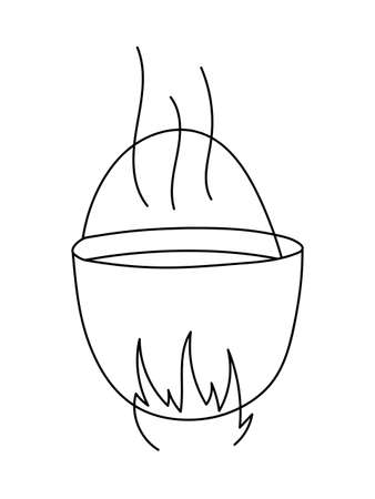 MORTAR FOR GRINDING HERBS ON A WHITE BACKGROUND IN THE VECTOR