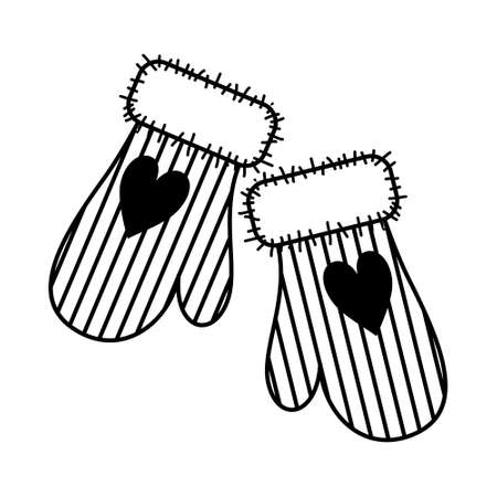 WARM MITTENS ON A WHITE BACKGROUND IN VECTOR