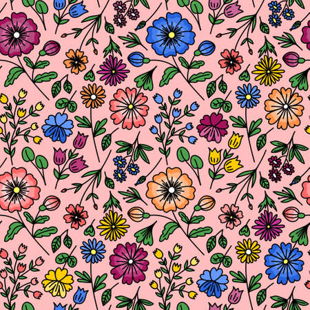 PINK SEAMLESS PATTERN WITH WILD FLOWERS IN VECTOR