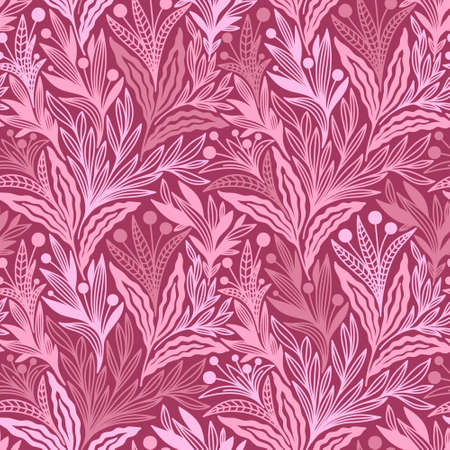 SEAMLESS BLUE PATTERN WITH TRAILING PINK FLOWERS IN VECTOR
