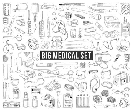 BIG SET OF MEDICAL ITEMS AND MEDICINES IN VECTOR 矢量图像