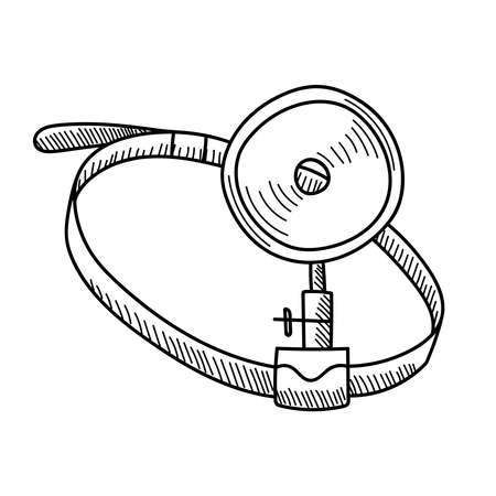 OPHTHALMIC MIRROR ON A WHITE BACKGROUND IN VECTOR