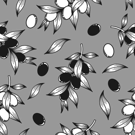 Black and white olives on a gray background in vector