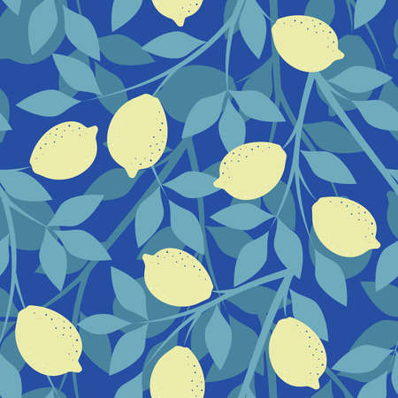 Seamless pattern with lemon branches on a blue background in vector