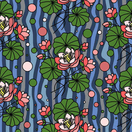 Seamless pattern with pink lotuses on the water in vector