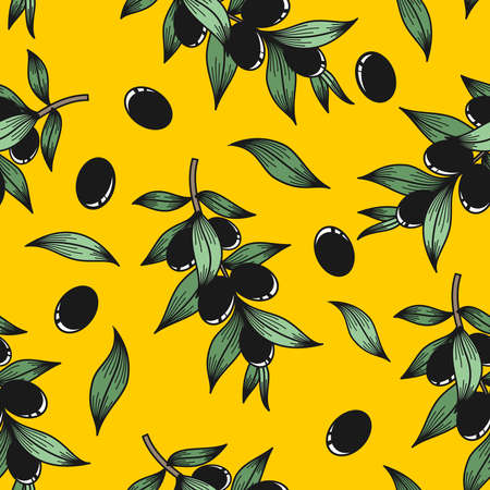 Black olives on a yellow background in the vector Stock Illustratie