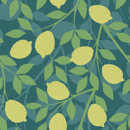 Seamless pattern with lemon branches on a green background in vector